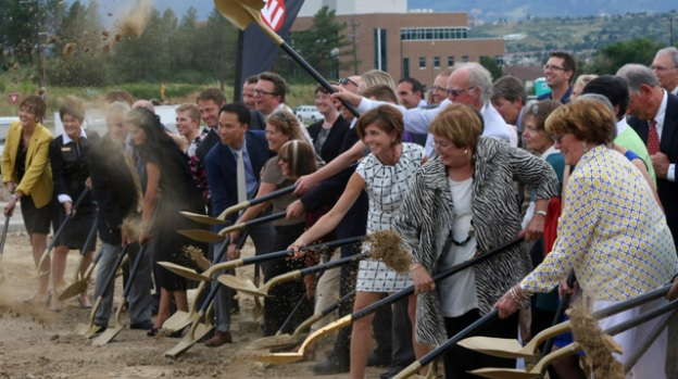 uccs community members break ground on the ent center for the arts